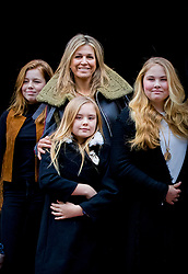 Princess Alexia, Queen Maxima, Princess Ariane and Princess Amalia of The Netherlands arrive for Princess Beatrix 80th birthday reception held at the Royal Palace on Dam Square in Amsterdam, Netherlands, February 3, 2018. Photo by Robin Utrecht/ABACAPRESS.COM