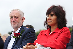 © Licensed to London News Pictures. 09/07/2016. Durham, UK. Labour leader Jeremy Corbyn with his wife Laura Alvarez at the Durham Miners' Gala in County Durham, UK. The gala is a large gathering held annually associated with the coal mining heritage and trade unionism. Photo credit : Ian Hinchliffe/LNP