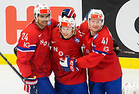 Ishockey<br /> VM 2015<br /> Slovenia v Norge<br /> 08.05.2015<br /> Foto: imago/Digitalsport<br /> NORWAY ONLY<br /> <br />  im Bild Andreas Martinsen of Norway, Mathis Olimb of Norway and Patrick Thoresen of Norway celebrate after scoring first goal for Norway // during the IIHF Icehockey World Championships Groupstage Match between Slovenia and Norway at the CEZ Arena in Ostrava, Czech Republic on 2015/05/08