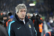 Manchester City Manager Manuel Pellegrini looks on prior to kick off. Capital one cup semi final 1st leg match, Everton v Manchester city at Goodison Park in Liverpool on Wednesday 6th January 2016.<br /> pic by Chris Stading, Andrew Orchard sports photography.