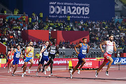 2019 IAAF World Athletics Championships held in Doha, Qatar from September 27- October 6<br /> Day 5<br /> Donovan Brazier, USA, en route to new American Record of 1:42.34 at 800 meters, breaking recrod by Johnny Gray set in 1985
