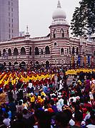 Malaysia National Day Parade with the Sultan Abdul Samad Building beyond, Kuala Lumpur, Malaysia.