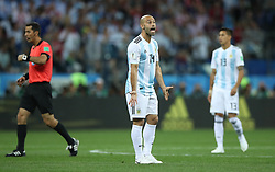 NIZHNY NOVGOROD, June 21, 2018  Javier Mascherano (C) of Argentina reacts during the 2018 FIFA World Cup Group D match between Argentina and Croatia in Nizhny Novgorod, Russia, June 21, 2018. (Credit Image: © Wu Zhuang/Xinhua via ZUMA Wire)