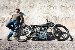 Abnormal Cycles' custom bike builder Samuele Reali with his 1919Swiss MAG Motosacoche with its automatic adjustable Brough Superioroiler,Sturmey and Archer transmission and aCorbin Duplex rear wheel hub from a 1916 Indian.Photographed at Motor Bike Expo, Verona, Italy. Sunday, January 21, 2018. Photography ©2018 Michael Lichter.