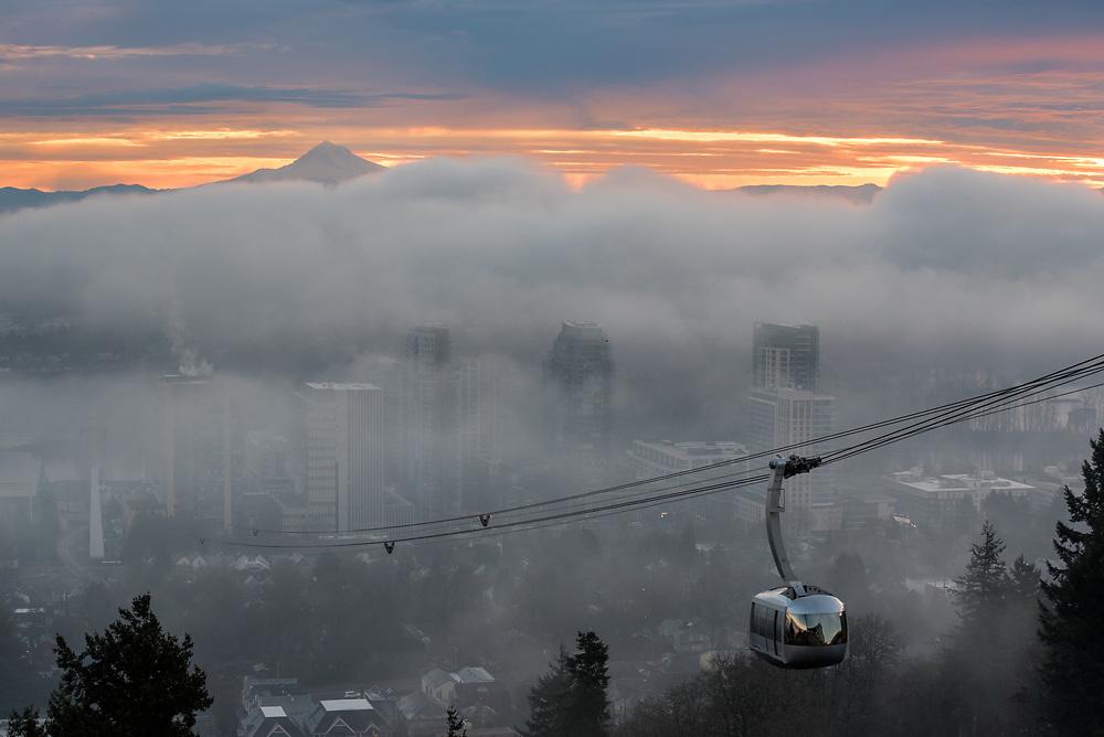Portland aerial tram, fog and Mt. Hood, Portland, Oregon.