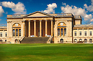 The neo-classic south front with Corinthian columns of the Duke of Buckingham's  Stowe House designed by Robert Adam in 1771,  Buckingham, England .<br /> <br /> Visit our EARLY MODERN ERA HISTORICAL PLACES PHOTO COLLECTIONS for more photos to buy as wall art prints https://funkystock.photoshelter.com/gallery-collection/Modern-Era-Historic-Places-Art-Artefact-Antiquities-Picture-Images-of/C00002pOjgcLacqI