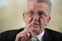 23 MAR 2012, BERLIN/GERMANY:<br /> Winfried Kretschmann, B90/Gruene, Ministerpraesident  Baden-Wuerttemberg, waehrend einem Interview,Landesvertertung Baden-Wuerttemberg<br /> IMAGE: 20120323-03-026
