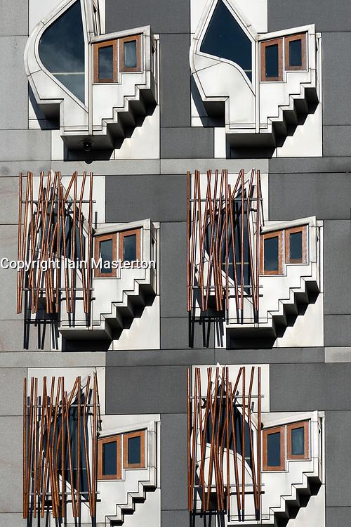 Exterior facade of Scottish Parliament building at Holyrood in Edinburgh, Scotland, UK