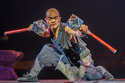 """Twenty Shaolin monks, from their  temple in the foothills of the Song Shang mountain range in China's Henan province, take to the stage to demonstrate their martial arts expertise in an 'awe-inspiring' performance. SHAOLIN is a display of theatre and physical prowess in which the cast perform """"superhuman"""" feats. The show combines traditional Shaolin Kung Fu, inch perfect choreography with dramatic lighting and sound that evokes the spirit of their tradition – their Temple being the birthplace of Kung Fu.  These are the very best Shaolin Kung Fu experts on the planet and they have come together to create this show. The Shaolin Monks are lifted aloft on sharpened spears, break marble slabs with their heads, perform handstands on two finger tips,splinter wooden staves with their bodies, break bricks on their heads and fly through the air in a series of incredible back flips. The show embarks upon a three-week run at The Peacock Theatre, London from 29 September – 17 October 2015."""