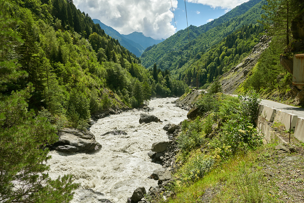 River Enguri valley in th Caucasus mountains, Upper Svaneti, Georgia (country) .<br /> <br /> Visit our REPUBLIC of GEORGIA HISTORIC PLACES PHOTO COLLECTIONS for more photos to browse, download or buy as wall art prints https://funkystock.photoshelter.com/gallery-collection/Pictures-Images-of-Georgia-Country-Historic-Landmark-Places-Museum-Antiquities/C0000c1oD9eVkh9c