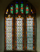Stained glass window patterned glass, Great Bealings church, Suffolk, England, UK c 1865? possibly by King of Ipswich