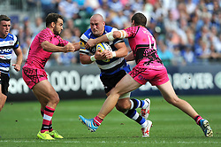 Carl Fearns of Bath takes on the London Welsh defence - Photo mandatory by-line: Patrick Khachfe/JMP - Mobile: 07966 386802 13/09/2014 - SPORT - RUGBY UNION - Bath - The Recreation Ground - Bath Rugby v London Welsh - Aviva Premiership
