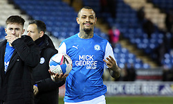 Jonson Clarke-Harris of Peterborough United with the match ball at full-time after scoring a hat-trick against Rochdale - Mandatory by-line: Joe Dent/JMP - 12/12/2020 - FOOTBALL - Weston Homes Stadium - Peterborough, England - Peterborough United v Rochdale - Sky Bet League One