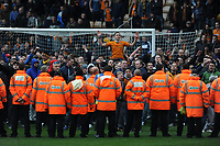 Unhappy Wolverhampton Wanderers Fans invade the pitch after the final whistle and are pushed back by Stewards and Police 2012/13<br />