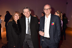 Left to right, Sarah Miller, Deyan Sudjic and Charles Kirwan-Taylor at CURE³ - private view in aid of The Cure Parkinsons Trust held at Bonhams, 101 New Bond Street, London England. 13 March 2017.