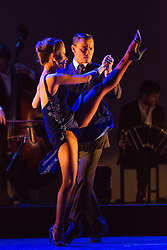 © Licensed to London News Pictures. 26/01/2015. London, England. Pictured: Gonzalo Cuello and Melody Celatti dancing. Argentina's dance company Tango Fire returns to the Peacock Theatre, London, with their show Flames of Desire from 27 January to 14 February 2015. Photo credit: Bettina Strenske/LNP