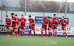 Ayr United's Gary Harkins cele scoring their first goal. half time ; Falkirk 1 v 1 Ayr United, Scottish Championship game played 14/1/2017at The Falkirk Stadium .