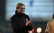 Jurgen Klopp manager of Liverpool  celebrates after the English Premier League match at Goodison Park, Liverpool. Picture date: December 19th, 2016. Photo credit should read: Lynne Cameron/Sportimage