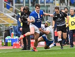 March 16, 2019 - Rome, Italy - Damian Penaud and Angelo Esposito during RBS Six Nations Rugby Championship, Italia v Francia at the Olympic Stadium in Rome, on march 16, 2019  (Credit Image: © Silvia Lore/NurPhoto via ZUMA Press)