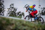 #113 (RESTREPO RESTREPO Maria Camila) COL during practice at round 1 of the 2018 UCI BMX Supercross World Cup in Santiago del Estero, Argentina.
