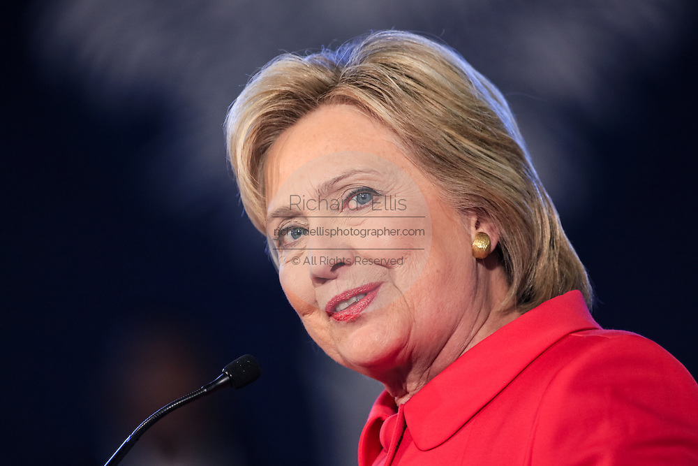 "Democratic presidential candidate Hillary Rodham Clinton during a ""Corridor of Opportunity"" Town Hall meeting at Denmark-Olar Elementary School February 12, 2016 in Denmark, South Carolina, USA. The event highlighted the disparities facing poor black families and rural poor in South Carolina."