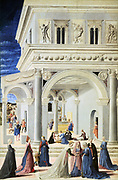 Birth of the Virgin' 1467. Tempera and oil on canvas. Master of the Barberini Panels, Italian painter active c1445-1475). In centre, under the arch, the newborn child is being washed. Foreground filled with women.