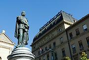 Statue of Petar Preradovic, Croatian poet and romanticist. Petar Preradovic square, colloquially called Cvjetni trg (Flower square). Zagreb, Croatia