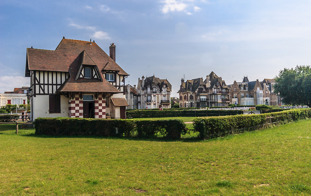 Old houses in Deauville, France. Half-timbered houses are common sight in Normandy.