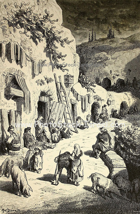 Les Grottes des Gitanos, au Sacro-Monte [The Caves of the Gypsies, at Sacro-Monte] Page illustration from the book 'L'Espagne' [Spain] by Davillier, Jean Charles, barón, 1823-1883; Doré, Gustave, 1832-1883; Published in Paris, France by Libreria Hachette, in 1874
