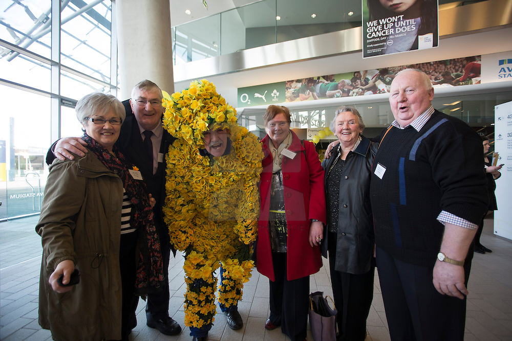 Mary and Ned Smith Dangan, Blanche Bagnell, Fidelma Gallagher and Richard Dudley all from Tullamore are pictured with Daffodil Man James Gilleran.