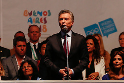 October 6, 2018 - Buenos Aires, Argentina - BUENOS AIRES, AR - 06.10.2018: JOGOS OLÍMPICOS DA JUVENTUDE BUENOS AIRES - The president of Argentina, Mauricio Macri speaks during the opening ceremony of the Buenos Aires 2018 Youth Olympic Games, in front of the Obelisk of the city of Buenos Aires, Argentina. (Credit Image: © Marcelo Machado De Melo/Fotoarena via ZUMA Press)
