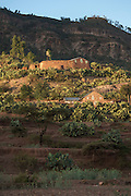 Stone houses in landscape near Adigrat, Tigray Region. Ethiopia, Horn of Africa