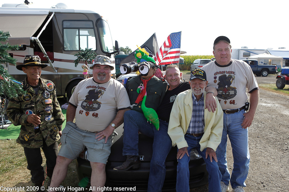 A group of Veterans gather for a group portrait during the Vietnam Veterans gathering in Kokomo, Indiana for the 2009 reunion.