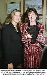 Left to right, MISS KINVARA BALFOUR, and her mother LADY TESSA BALFOUR, daughter of the Duke & Duchess of Norfolk, at an exhibition in London on October 1st 1996.  LSL 58