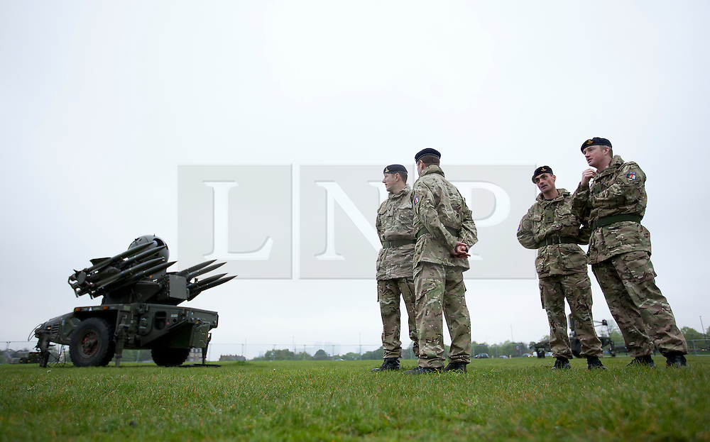 © Licensed to London News Pictures. 03/05/2012. LONDON, UK. A Rapier surface to air missile system (SAM) and members of 16 Regiment Royal Artillery, are seen on Blackheath in London today (03/0512). The missiles have been deployed as part of an exercise involving the RAF, British Army and Royal Navy taking place across London as part of security preparations for the 2012 London Olympic Games. Photo credit: Matt Cetti-Roberts/LNP