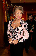 Angela Rippon, Jewels for Life, Royal Gala dinner and auction, in aid of the British Red Cross. Christie's.  1 December 2003. © Copyright Photograph by Dafydd Jones 66 Stockwell Park Rd. London SW9 0DA Tel 020 7733 0108 www.dafjones.com