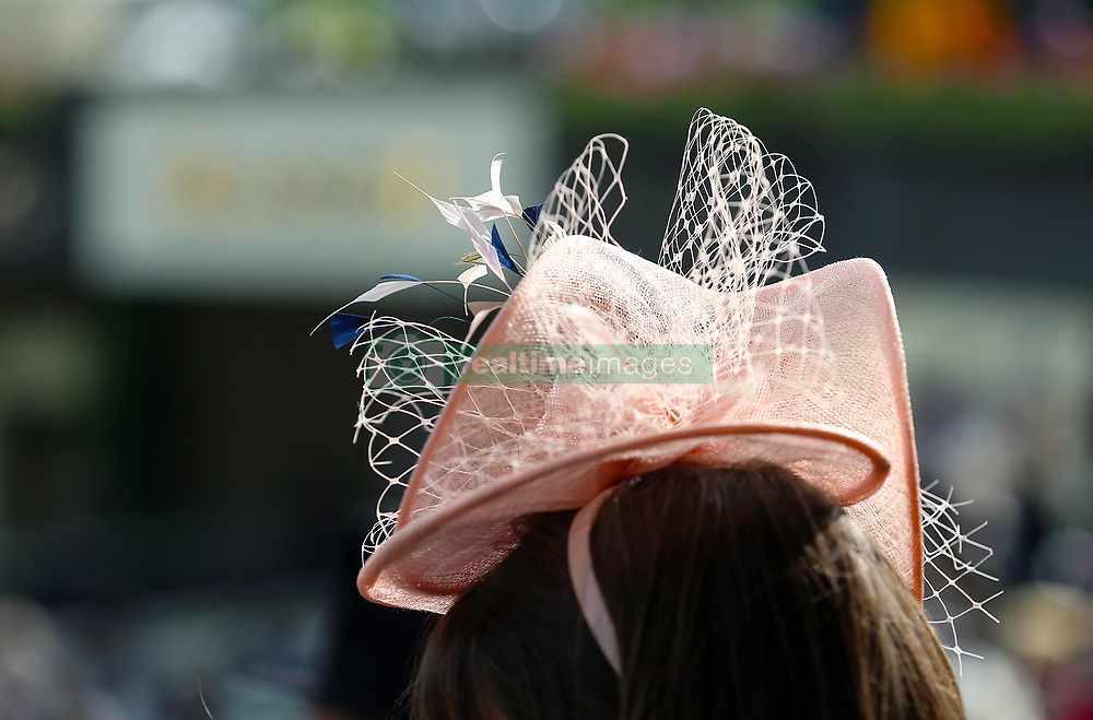Detail of a racegoers hat during day one of Royal Ascot at Ascot Racecourse. PRESS ASSOCIATION Photo. Picture date: Tuesday June 19, 2018. See PA story RACING Ascot. Photo credit should read: Nigel French/PA Wire. RESTRICTIONS: Use subject to restrictions. Editorial use only, no commercial or promotional use. No private sales.