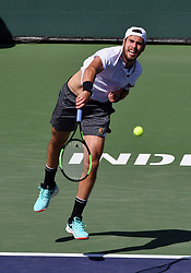 March 15, 2019 - Indian Wells, CA, U.S. - INDIAN WELLS, CA - MARCH 15: Karen Khachanov (RUS) serving in the first set of a quarterfinals match played during the BNP Paribas Open on March 15, 2019 at the Indian Wells Tennis Garden in Indian Wells, CA. (Photo by John Cordes/Icon Sportswire) (Credit Image: © John Cordes/Icon SMI via ZUMA Press)