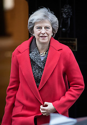 © Licensed to London News Pictures. 29/11/2016. London, UK. British Prime Minister Theresa May leaves 10 Downing Street ahead of a trip to Cyprus and Bahrain. Photo credit : Tom Nicholson/LNP