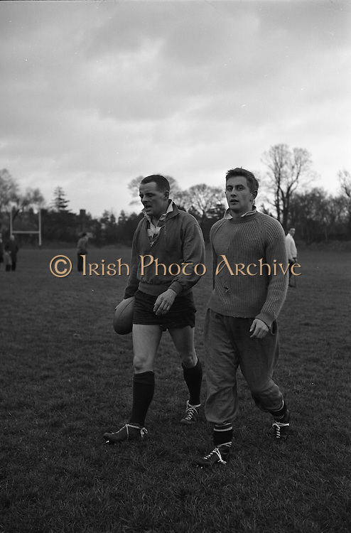 Irish Rugby Football Union, Ireland v England, Five Nations, Irish Rugby team practice, Dublin, Ireland, Friday 12th February, 1965,.13.2.1965, 2.13.1965,..Referee- H S Laidlaw, Scottish Rugby Union, ..Score- Ireland 5 - 0 England, ..Irish Team, ..T J Kiernan,  Wearing number 15 Irish jersey, Full Back, Cork Constitution Rugby Football Club, Cork, Ireland,..P J Casey, Wearing number 14 Irish jersey, Right Wing, Landsdowne Rugby Football Club, Dublin, Ireland, ..M K Flynn, Wearing number 13 Irish jersey, Right Centre, Wanderers Rugby Football Club, Dublin, Ireland, ..K J Houston, Wearing number 12 Irish jersey, Left Centre, Bruff Rugby Football Club, Limerick, Ireland, and, Oxford University Rugby Footabll Club, Oxford, England,..P J McGrath,  Wearing number 11 Irish jersey, Left Wing, University college Cork Rugby Football Club, Cork, Ireland,..C M H Gibson, Wearing number 10 Irish jersey, Stand Off, Cambridge University Rugby Football Club, Cambridge, England, and, N.I.F.C, Rugby Football Club, Belfast, Northern Ireland, ..R M Young, Wearing number 9 Irish jersey, Scrum Half, Queens University Rugby Football Club, Belfast, Northern Ireland,..S MacHale, Wearing number 1 Irish jersey, Forward, Landsdowne Rugby Football Club, Dublin, Ireland, ..K W Kennedy, Wearing number 2 Irish jersey, Forward, Queens University Rugby Football Club, Belfast, Northern Ireland,..R J McLoughlin, Wearing number 3 Irish jersey, Captain of the Irish team, Forward, Gosforth Rugby Football Club, Newcastle, England, ..W J McBride, Wearing number 4 Irish jersey, Forward, Bective Rangers Rugby Football Club, Dublin, Ireland,  ..W A Mulcahy, Wearing number 5 Irish jersey, Forward, Bective Rangers Rugby Football Club, Dublin, Ireland,  ..M G Doyle, Wearing number 6 Irish jersey, Forward, University College Dublin Rugby Football Club, Dublin, Ireland,..R A Lamont, Wearing number 8 Irish jersey, Forward, Instonians Rugby Football Club, Belfast, Northern Ireland, ..N Murphy, Wearing number 7 Irish