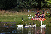 A couple feed swans and cygnets whilst enjoying a picnic on the banks of the River Cam, Cambridge, UK