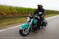 Bob Gamache of Lakeville, MA riding his 1948 Harley-Davidson FL Panhead in theCross Country Chase motorcycle endurance run from Sault Sainte Marie, MI to Key West, FL (for vintage bikes from 1930-1948). Stage 3 from Milwaukee, WI to Urbana, IL. USA. Sunday, September 8, 2019. Photography ©2019 Michael Lichter.
