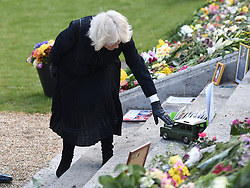 EMBARGOED TO 1100 THURSDAY APRIL 15 The Duchess of Cornwall visits the gardens of Marlborough House, London, to view the flowers and messages left by members of the public outside Buckingham Palace following the death of the Duke of Edinburgh on April 10. Picture date: Thursday April 15, 2021.