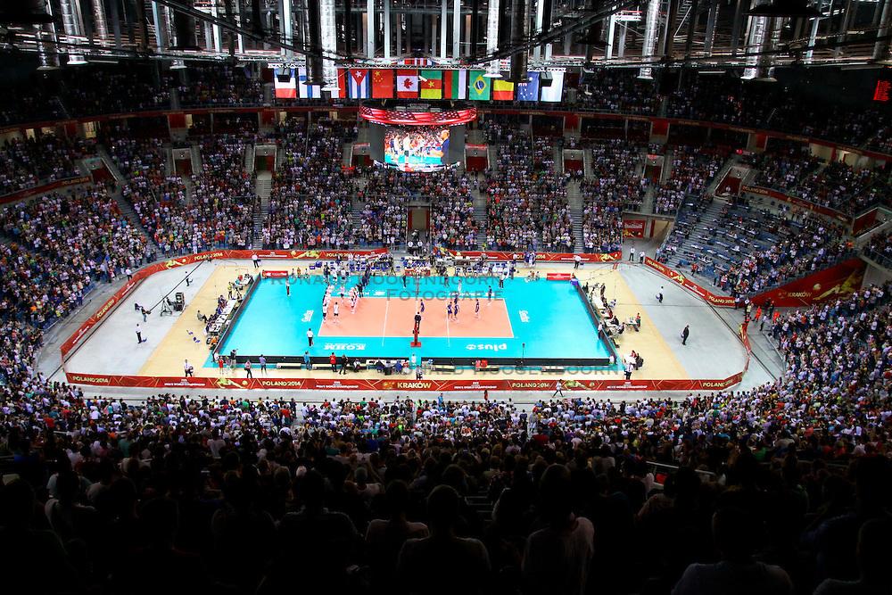07.09.2014, Krakow Arena, Krakau, POL, FIVB WM, Italien vs USA, Gruppe D, im Bild wypelniona widzami hala Krakow Arena, komplet widzow w Krakowie // during the FIVB Volleyball Men's World Championships Pool D Match beween Italy and USA at the Krakow Arena in Krakau, Poland on 2014/09/07<br /> <br /> ***NETHERLANDS ONLY***