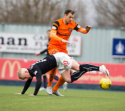 Dundee United's Alex Nicholls and Falkirk's Craig Sibbald. Falkirk 3 v 0 Dundee United, Scottish Championship game played 11/2/2017 at The Falkirk Stadium.