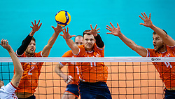 Wessel Keemink of Netherlands, Michael Parkinson of Netherlands, Thijs Ter Horst of Netherlands in action during the CEV Eurovolley 2021 Qualifiers between Croatia and Netherlands at Topsporthall Omnisport on May 16, 2021 in Apeldoorn, Netherlands