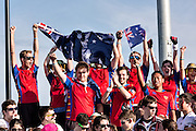 Members of the University of Sydney Australian team during the opening ceremonies for the 7th Annual Quidditch World Cup April 5, 2014 in Myrtle Beach, South Carolina. The sport, created from the Harry Potter novels is a co-ed contact sport with elements from rugby, basketball, and dodgeball. A quidditch team is made up of seven athletes who play with broomsticks between their legs at all times.