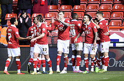 Bristol City players celebrate Matt Smith's goal against Gillingham - Photo mandatory by-line: Paul Knight/JMP - Mobile: 07966 386802 - 29/01/2015 - SPORT - Football - Bristol - Ashton Gate Stadium - Bristol City v Gillingham - Johnstone's Paint Trophy