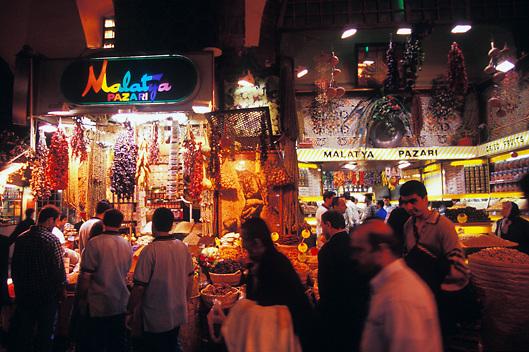 Spice stalls in Covered bazaar in Istambul Turkey