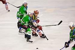 Jurij Golicic of Olimpija vs Kirk Furey of KAC at ice-hockey match in 33rd Round of EBEL league between HDD Tilia Olimpija Ljubljana and EC KAC, Klagenfurt, on December 18, 2009, in Arena Tivoli, Ljubljana, Slovenia. Olimpija defeated KAC 4:2. (Photo by Vid Ponikvar / Sportida)